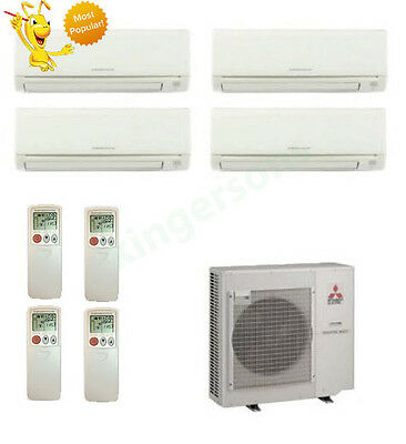 12k + 12k + 12k + 12k Btu Mitsubishi Quad Zone Ductless Wall Mount Heat Pump AC