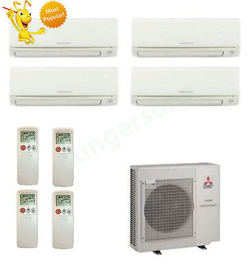9k + 12k + 12k + 18k Btu Mitsubishi Quad Zone Ductless Wall Mount Heat Pump AC
