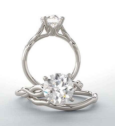 GIA cert 1.01 carat Round Diamond Engagement Solitaire 14k White Gold Ring H SI1