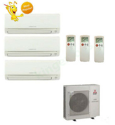 12k + 12k + 18k Btu Mitsubishi Tri Zone Ductless Wall Mount Heat Pump AC