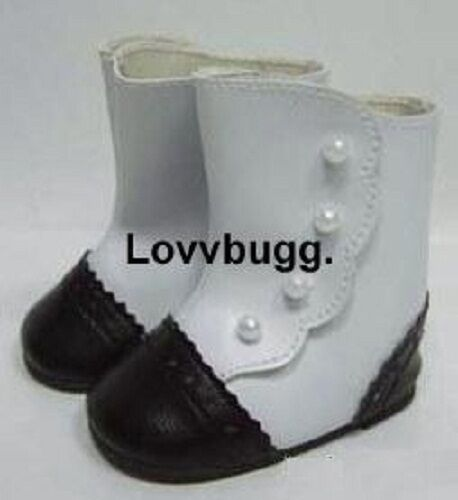"Black White 2 Tone Victorian Boots for American Girl 18"" or Baby 15"" Doll Shoes"