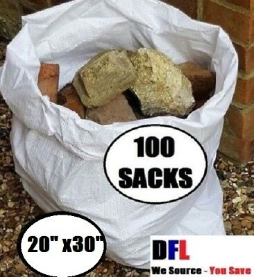 100 x Tough Woven Polypropylene Builder Rubble Sacks Bags. ** ULTRA STRONG **