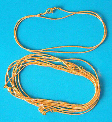 """One 16"""" gold plated complete snake necklace/pendant chain, 1.1mm dia"""