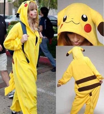 Unisex Erwachsene Kinder Pikachu Kostüm Cosplay Tier Pyjamas Nachtwäsche B9 (Erwachsene Kostüme)
