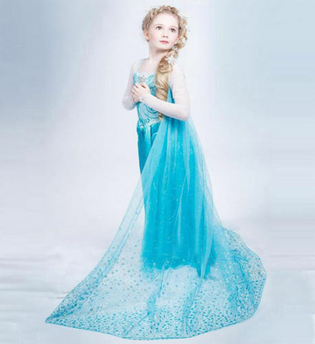 NEW-Frozen-Elsa-Anna-Costume-Disney-Princess-Girls-Child-Fancy-Outfit-Long-Dress