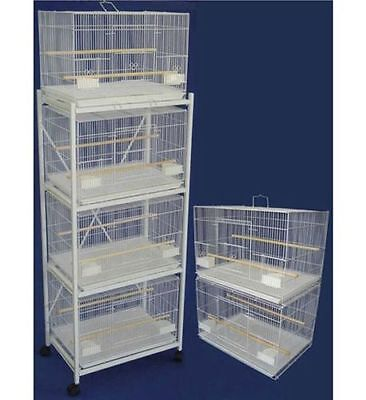 Lot of 6 Bird Breeding Cages 24x16x16 White With Divider With Stand White-140