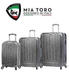 NEW MIA TORO 3 PC LUGGAGE SPINNER - 109186206 - SUITCASE SET SILVER PARTICELLA
