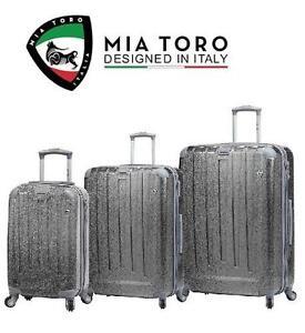 NEW MIA TORO 3 PC LUGGAGE SPINNER - 109186206 - SUITCASE SET SILVER PARTICELLA