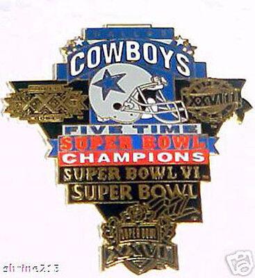 Dallas Cowboys 5 Time Super Bowl Champs Pin
