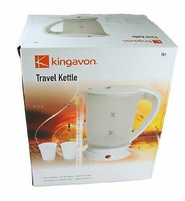 0.5LITRE DUAL VOLTAGE SMALL ELECTRIC TRAVEL KETTLE IN WHITE COLOUR+2 CUP