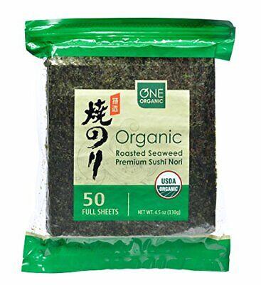 Sushi Nori Organica Premium Asado Organico De La Alga Marina 50 Hojas Complet...