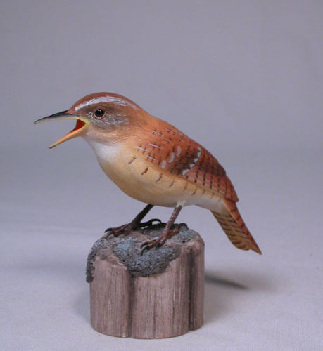 Carolina Wren Original Bird Carving/Birdhug