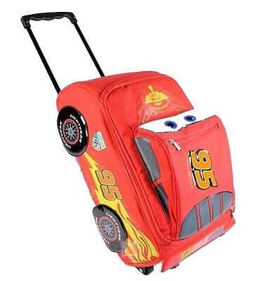 "Disney Pixar Cars 2 Lightning McQueen Boys 12"" Rolling Red Luggage"