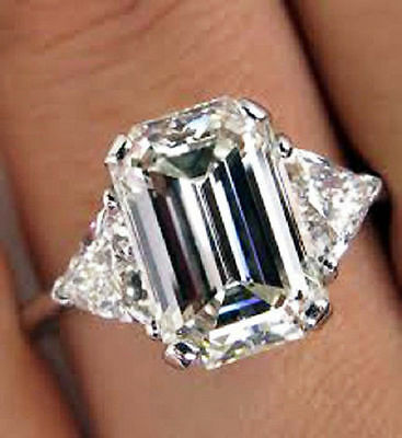 2.00 Ct. Emerald cut w/ Trillion Cut Diamond Engagement Ring  G, VS2 GIA 14K WG