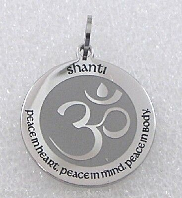 Shanti Om Lotus Necklace Silver Stainless Steel Peace Heart Mind Body Chakra