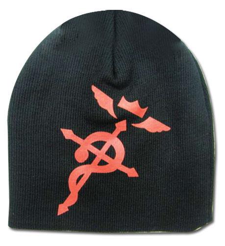 FullMetal Alchemist Red Flamel Cross Black Fabric Beanie Hat *NEW*