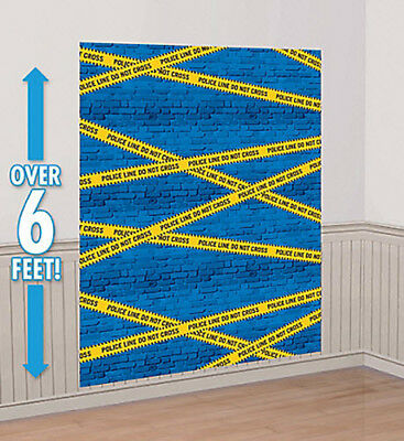 POLICE CRIME SCENE party Scene Setter wall decoration kit yellow tape brick (Party Scene Tape)