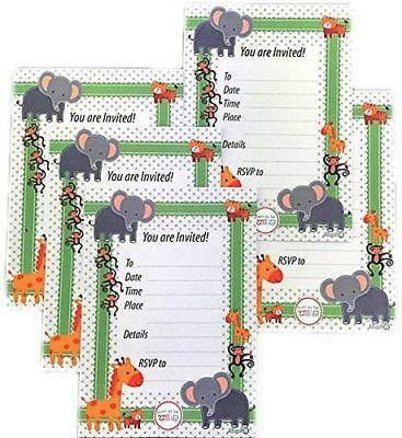Jungle Safari Baby Shower Treat Boxes & Invitations Animal Theme Favors Set (Jungle Themed Baby Shower Favors)