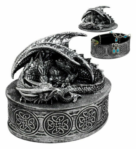 Oval Celtic Knotwork Mythical Sleeping Dragon Decorative Box Trinket Jewelry Box