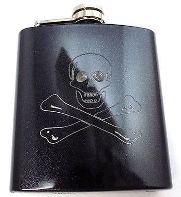Jolly Roger Skull Cross Pirate Engraved 6oz Glitter Hip Flask Liquor - Pirate Flask