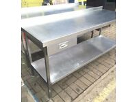 1.8 Metre Stainless Steel Prep Table With Drawer