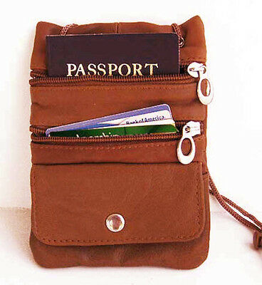 Brown Passport Genuine Leather ID Neck Pouch TRAVEL Wallet Coin Strap Safe Nice