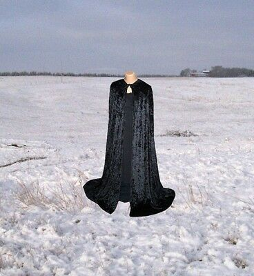 Halloween Costume BLACK VELVET HOODED CLOAK KING QUEEN RENAISSANCE MEDIEVAL CAPE