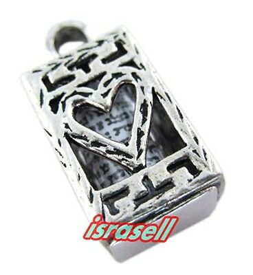 925 Sterling Silver MEZUZAH PENDANT WITH SHEMA YISRAEL SCROLL - Heart - Gift