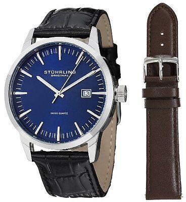 Stuhrling 555A 04 Men\s Classic Ascot II Swiss Quartz Date Blue Dial Watch