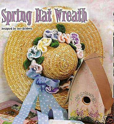 PRETTY Spring Hat Wreath/Decor/Crochet Pattern INSTRUCTIONS ONLY