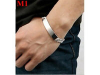 Solid Chinese Silver Mens Identitiy Bracelet - Size Approx 5mm x 20cm - NEW