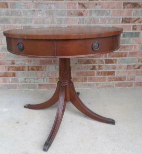 Antique Round Leather Top Coffee Table: Leather Top Drum Table