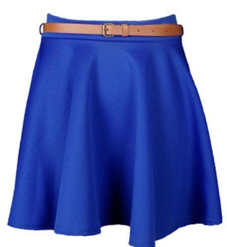 blue leather skirt ebay