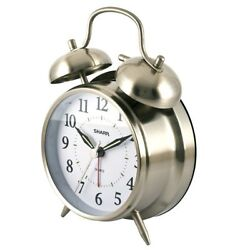 Sharp Quartz Silver Analog Twin Bell Alarm Clock Steel Dial Desk Watch New