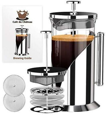 Cafe Du Chateau French Press Coffee Maker 4 Level Filtration System 34 Ounce (Cafe French Press)