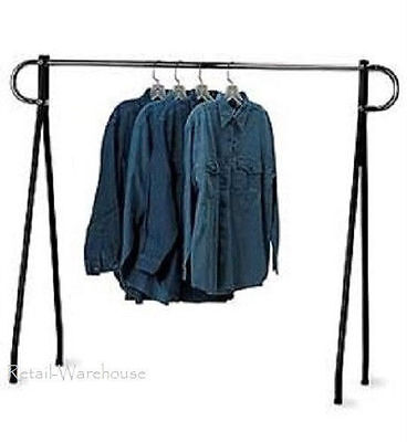 Clothing Rack Black Chrome Single Rail Retail Storage Garment Salesman 60 X 60