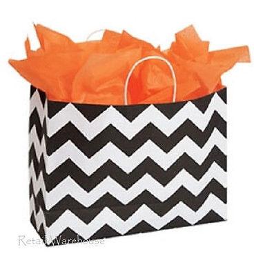 Paper Shopping Bags 100 Chevron 16 X 6 X 12 Vogue Black White Merchandise