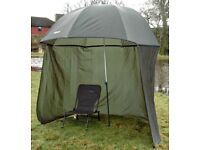 UMBRELLA BROLLY FISHING SHELTER WITH ZIP ON SIDES