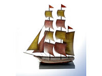 Appealing Large Metallica Galleon Red & Yellow Sails Decorative Ornament
