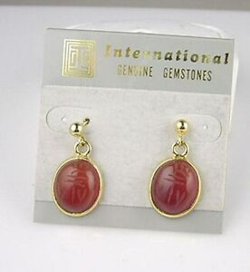 14kt Gold Hge Carved Carnelian Scarab Dangle Earrings