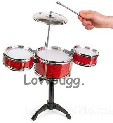 """Red Trap Drums Set Mini Instrument for 18"""" American Girl Doll Logan Accessories"""