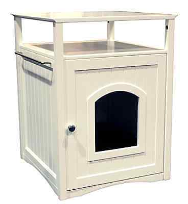 Pet Cat Kitty Kitten Washroom Night Stand House Litter Box Privacy Modern White