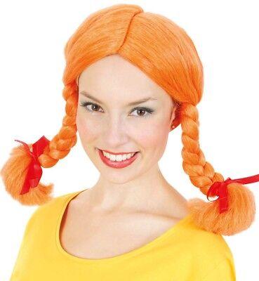 Perücke Göre orange Zensi Zöpfe Karlinchen Karneval Fasching Kostüm (Kostüm Zöpfe)