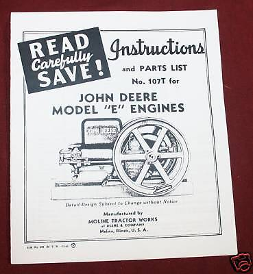 John Deere E Hit Miss Engine Parts List Instructions