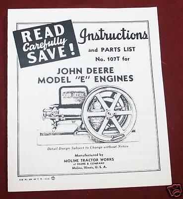John Deere E Hit Miss Engine Parts List Instructions