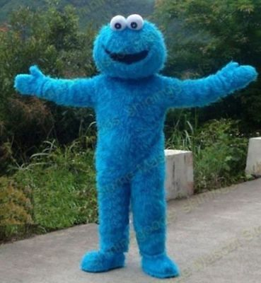 Sesame Street Blue Cookie Monster Mascot Fancy Dress Halloween Costume Adult