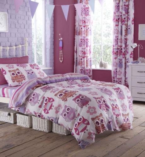 Catherine Lansfield Owls Childrens/Kids Girls Quilt/Duvet Cover Bedding Set