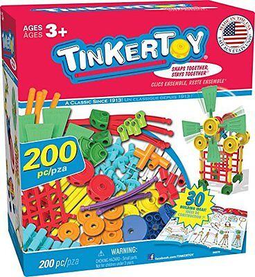 TINKERTOY BUILDING SET, Kids Toys 30 Model 200 Piece Super TINKER TOY