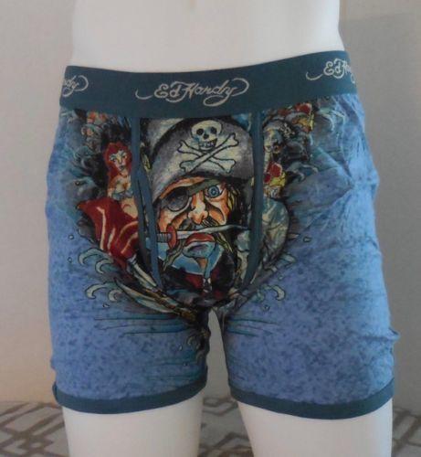 Ed Hardy Herren Baumwolle Premium Boxershorts Piraten Blaugrün Tattoo Muster
