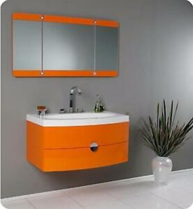 36 1/4-inch W Vanity in White Finish with 3 Panel Folding Mirror ( Orange, Red or White )